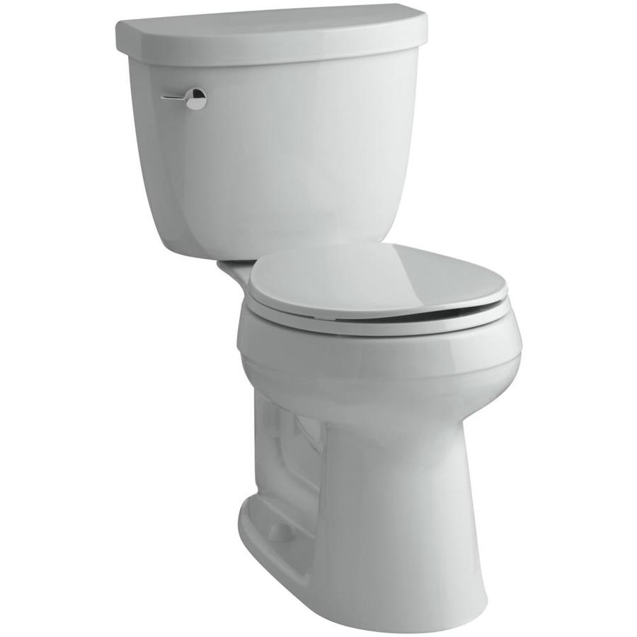 KOHLER Cimarron 1.28 Ice Grey WaterSense Round Chair Height 2-Piece Toilet