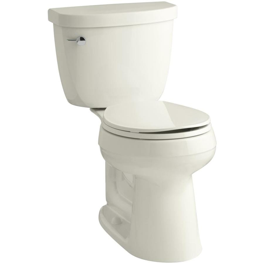KOHLER Cimarron Biscuit WaterSense Labeled  Round Chair Height 2-piece Toilet 12-in Rough-In Size