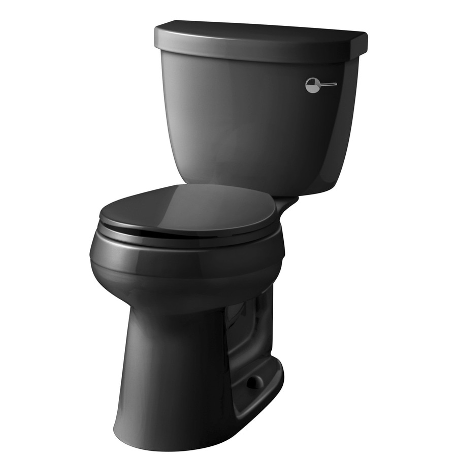 KOHLER Cimarron Black Black 1.28-GPF (4.85-LPF) 12-in Rough-In WaterSense Round 2-Piece Comfort Height Toilet