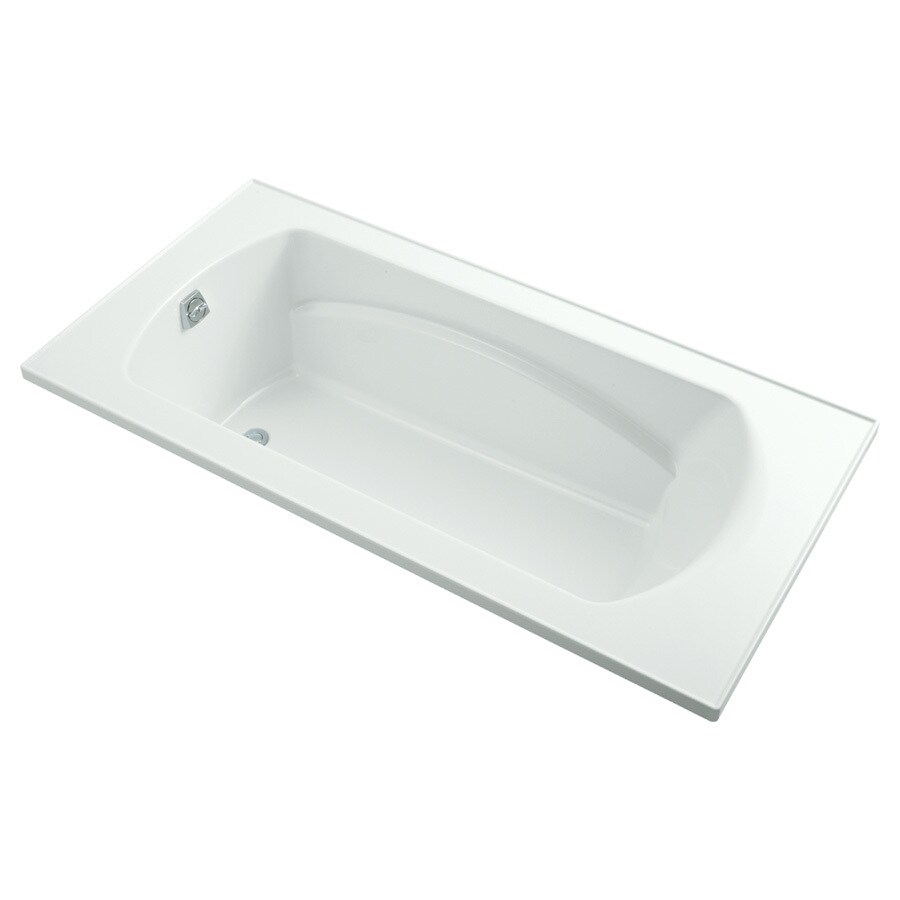 Sterling Lawson White Vikrell Rectangular Drop-in Bathtub with Reversible Drain (Common: 36-in x 72-in; Actual: 20.3125-in x 72-in x 36-in)