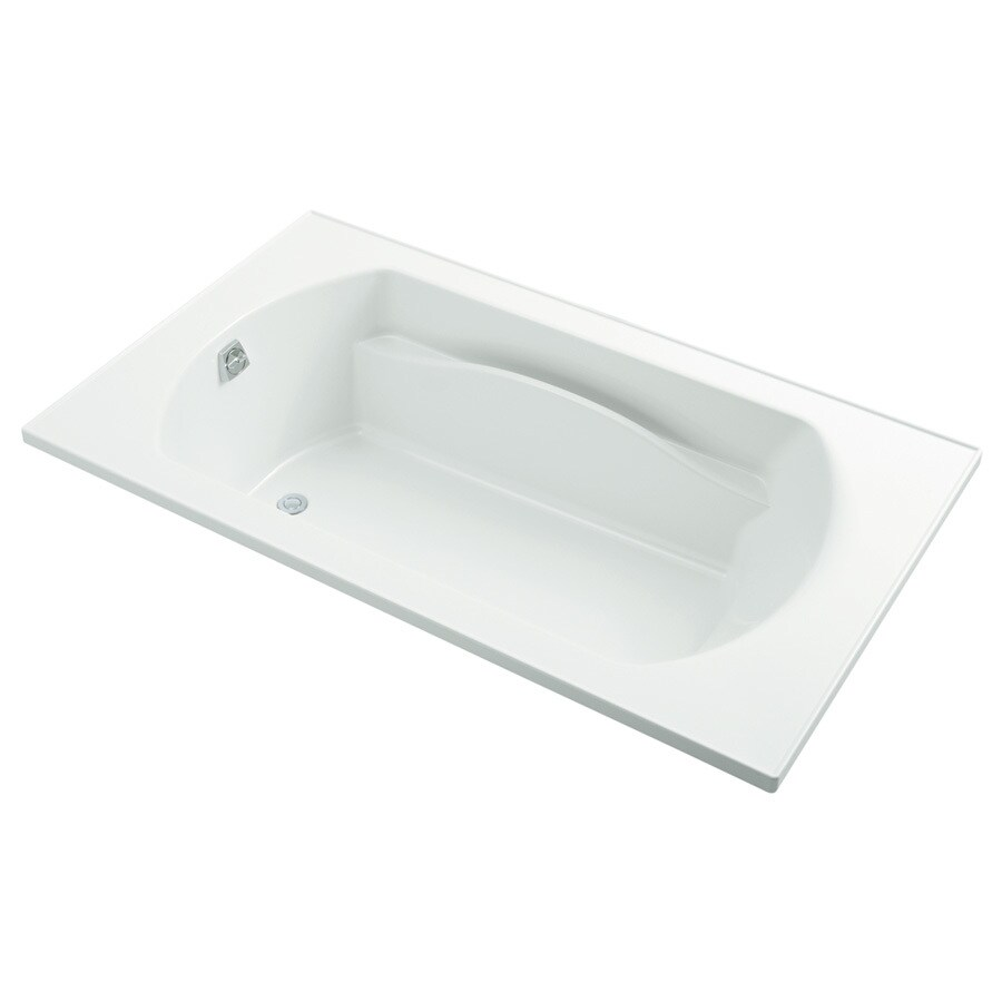 Sterling Lawson White Vikrell Rectangular Drop-in Bathtub with Reversible Drain (Common: 72-in x 42-in; Actual: 20.3125-in x 72-in x 42-in