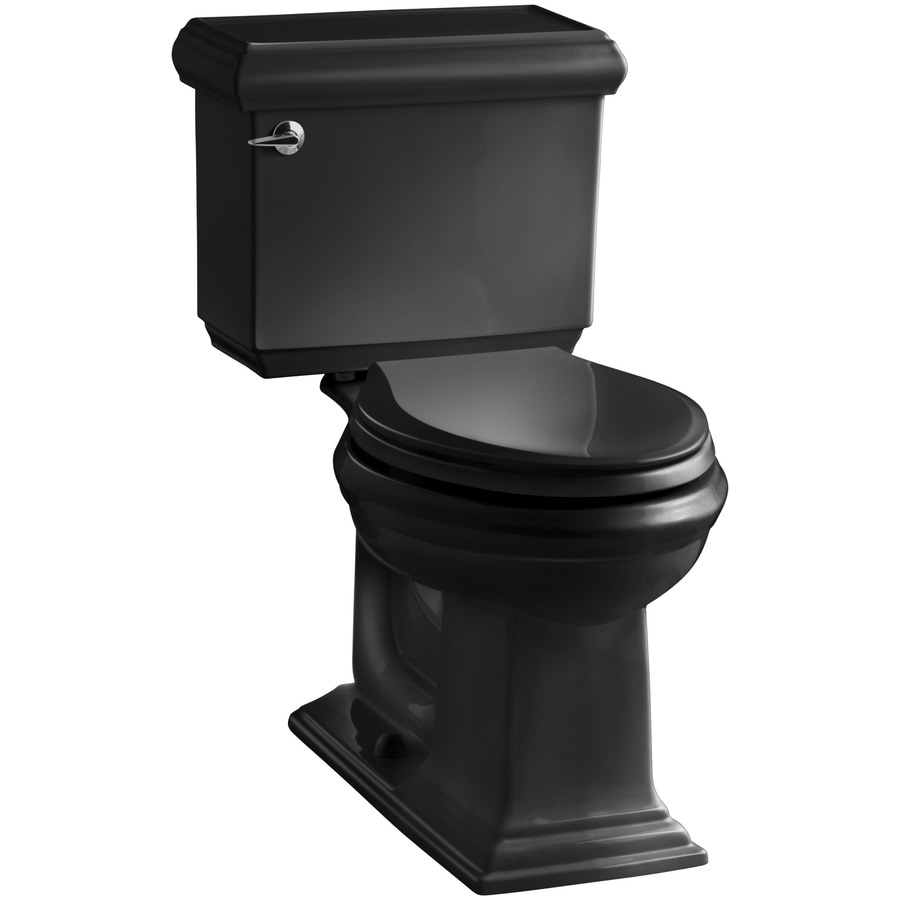 KOHLER Memoirs Black Black WaterSense Labeled  Elongated Chair Height 2-piece Toilet 12-in Rough-In Size