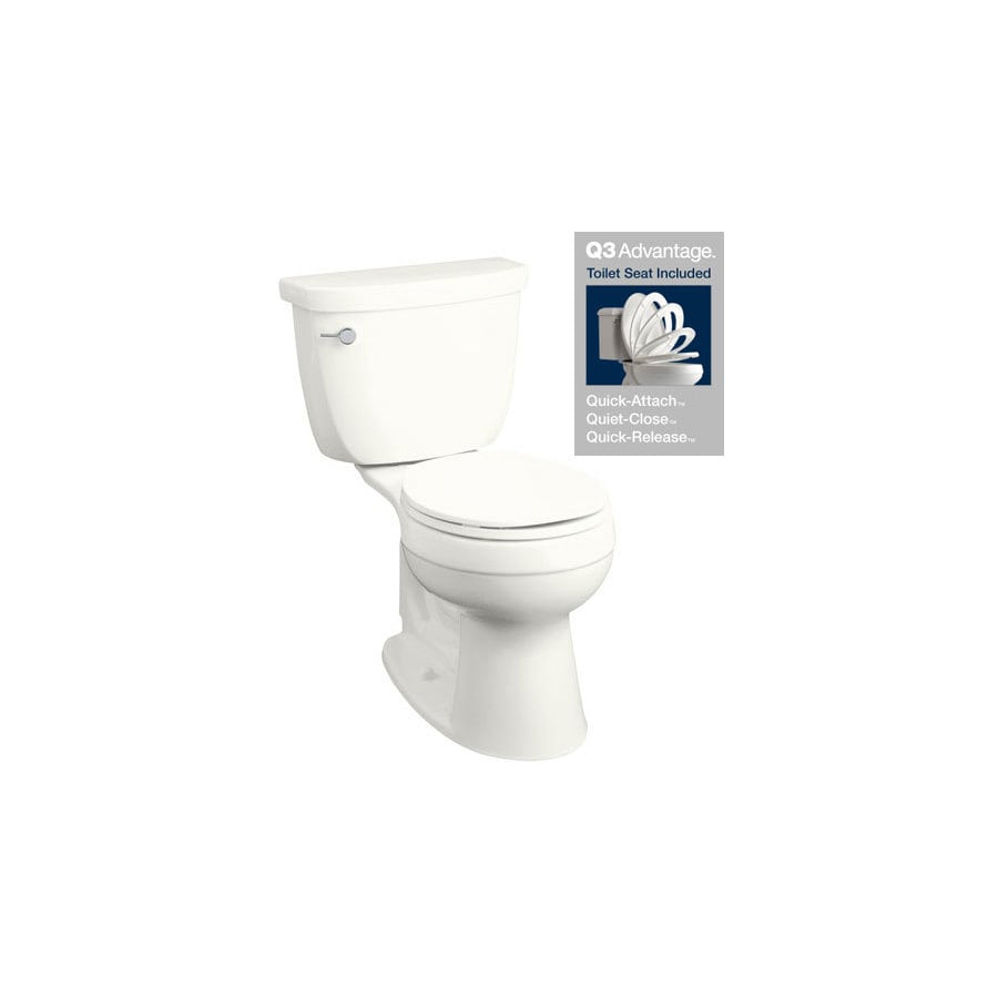 KOHLER Cimarron White 1.28-GPF (4.85-LPF) 12 Rough-In WaterSense Round 2-Piece Chair Height Toilet