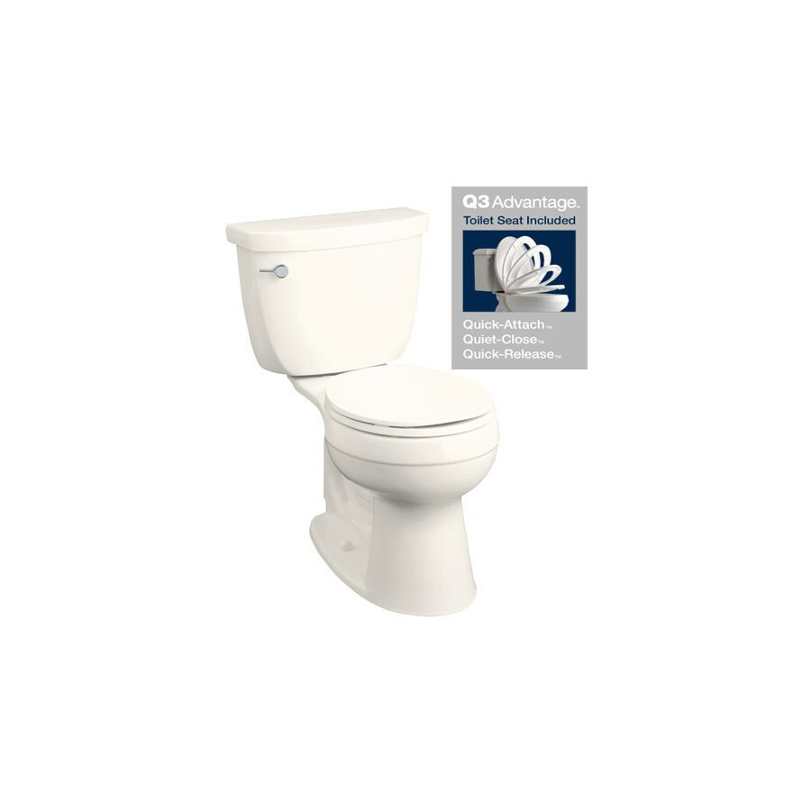 KOHLER Cimarron Biscuit 1.28-GPF (4.85-LPF) 12 Rough-In WaterSense Round 2-Piece Chair Height Toilet