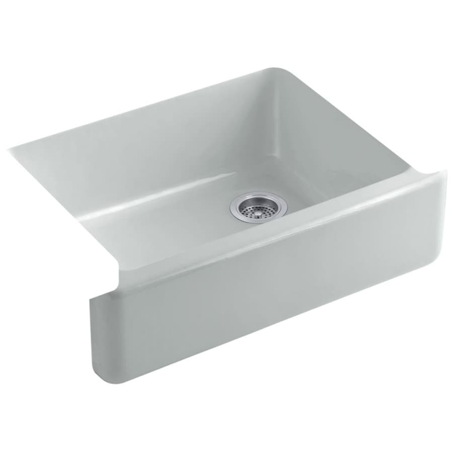 KOHLER Whitehaven 21.5625-in x 29.6875-in Ice Grey 1 Cast Iron Apron Front/Farmhouse (Customizable)-Hole Residential Kitchen Sink