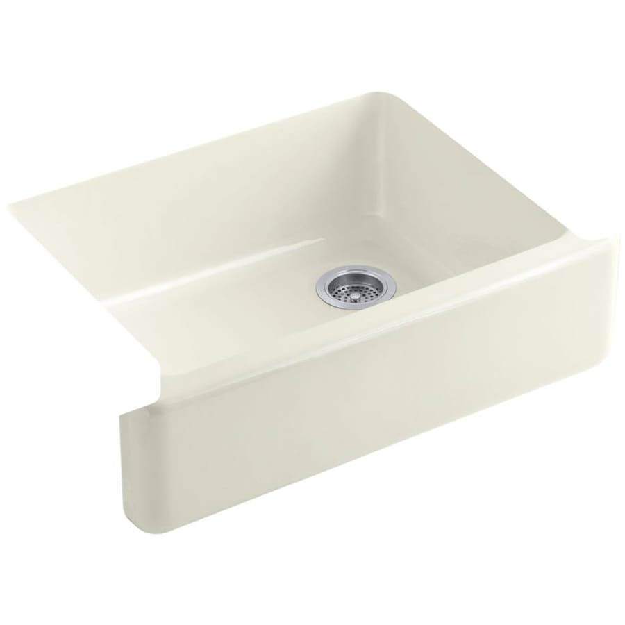KOHLER Whitehaven 21.5625-in x 29.6875-in Biscuit Single-Basin Cast Iron Apron Front/Farmhouse Residential Kitchen Sink