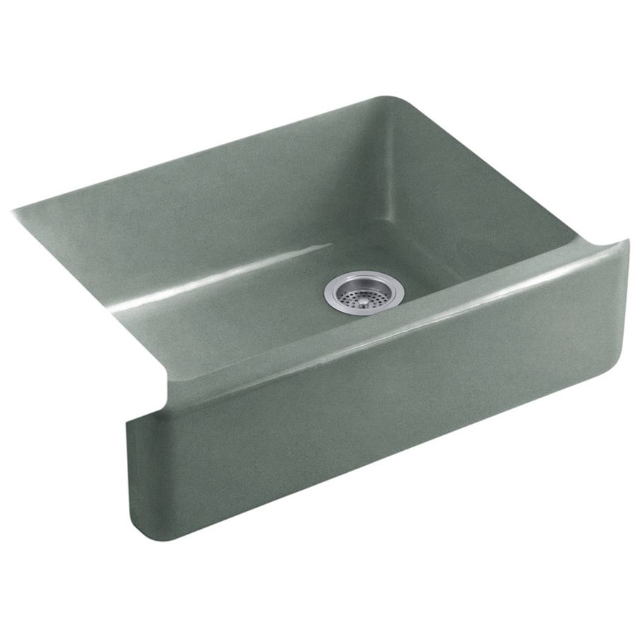 KOHLER Whitehaven 21.5625-in x 29.6875-in Basalt 1 Cast Iron Apron Front/Farmhouse (Customizable)-Hole Residential Kitchen Sink