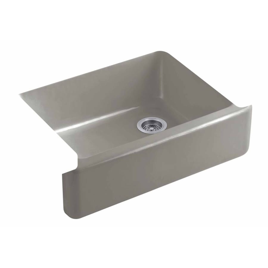 KOHLER Whitehaven 21.5625-in x 35.5-in Cashmere Single-Basin Cast Iron Apron Front/Farmhouse Residential Kitchen Sink