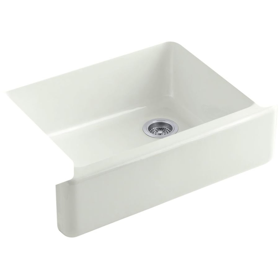 KOHLER Whitehaven 21.5625-in x 29.6875-in Dune Single-Basin Cast Iron Apron Front/Farmhouse Residential Kitchen Sink