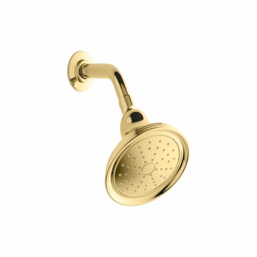 KOHLER Devonshire 5.9375-in 2.0-GPM (7.6-LPM) Vibrant Polished Brass 1-Spray WaterSense Showerhead