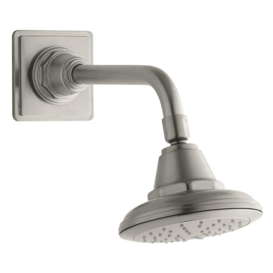 KOHLER Pinstripe 5.5625-in 2.0-GPM (7.6-LPM) Vibrant Brushed Nickel 1-Spray WaterSense Showerhead
