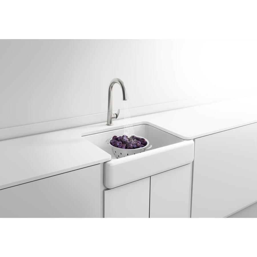 KOHLER Whitehaven 21.56-in x 29.68-in White Single-Basin Cast Iron Apron Front/Farmhouse Residential Kitchen Sink
