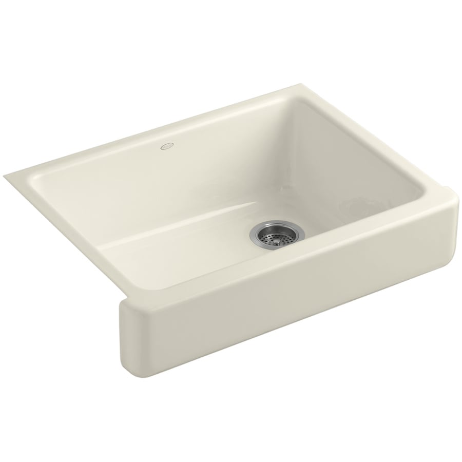 KOHLER Whitehaven 21.56-in x 29.5-in Almond 1 Cast Iron Apron Front/Farmhouse (Customizable)-Hole Residential Kitchen Sink