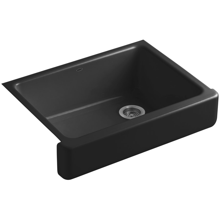 KOHLER Whitehaven 21.5625-in x 29.5-in Black Black Single-Basin Cast Iron Apron Front/Farmhouse Residential Kitchen Sink