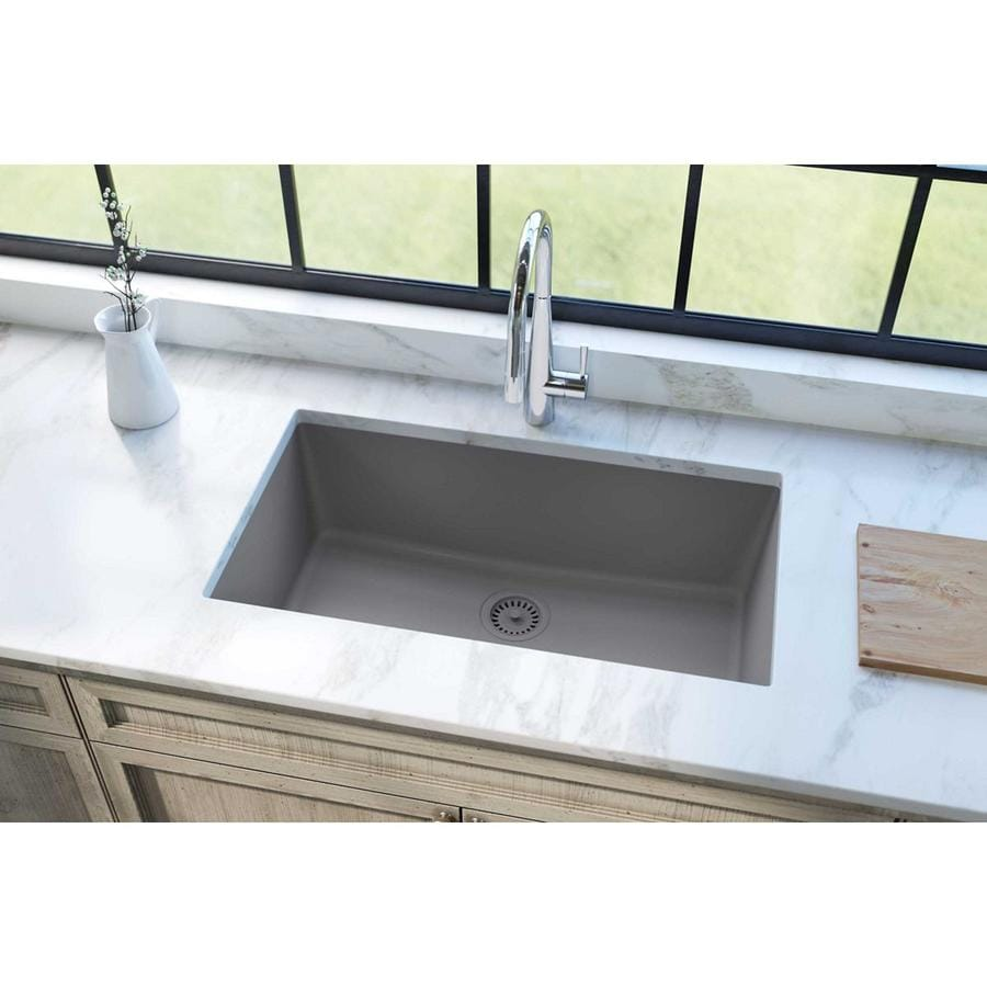 KOHLER Whitehaven 21.5625-in x 29.5-in Ice Grey Single-Basin Cast Iron Apron Front/Farmhouse Residential Kitchen Sink