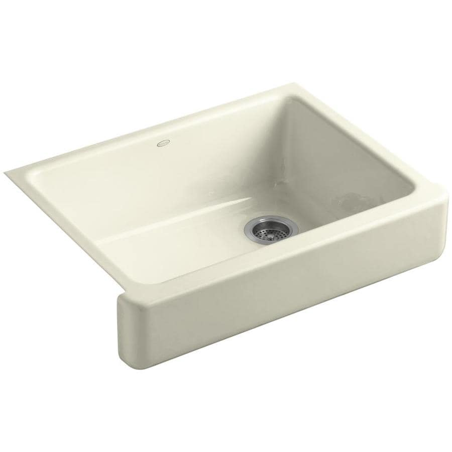 KOHLER Whitehaven 21.5625-in x 29.5-in Cane Sugar Single-Basin Cast Iron Apron Front/Farmhouse Residential Kitchen Sink