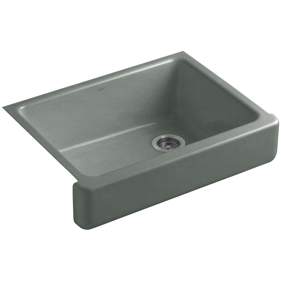 KOHLER Whitehaven 21.5625-in x 29.5-in Basalt Single-Basin Cast Iron Apron Front/Farmhouse Residential Kitchen Sink