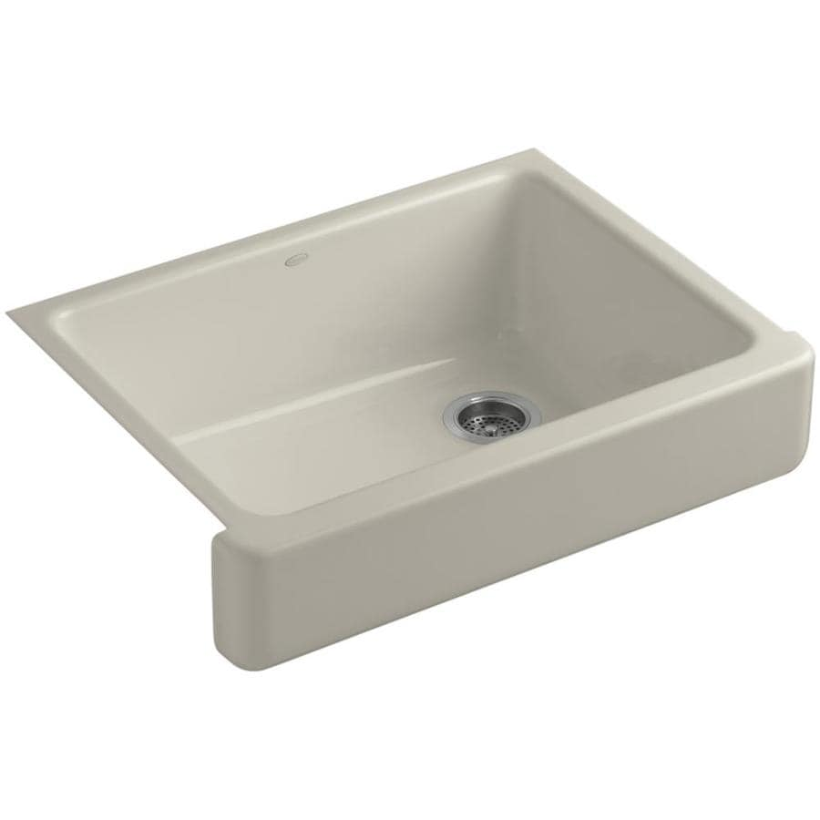 KOHLER Whitehaven 21.5625-in x 29.5-in Sandbar Single-Basin Cast Iron Apron Front/Farmhouse Residential Kitchen Sink