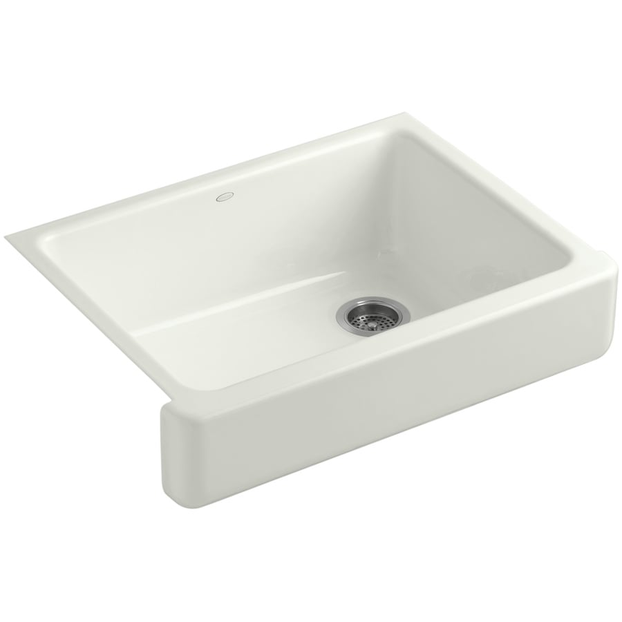 KOHLER Whitehaven 21.5625-in x 29.5-in Dune Single-Basin Cast Iron Apron Front/Farmhouse Residential Kitchen Sink