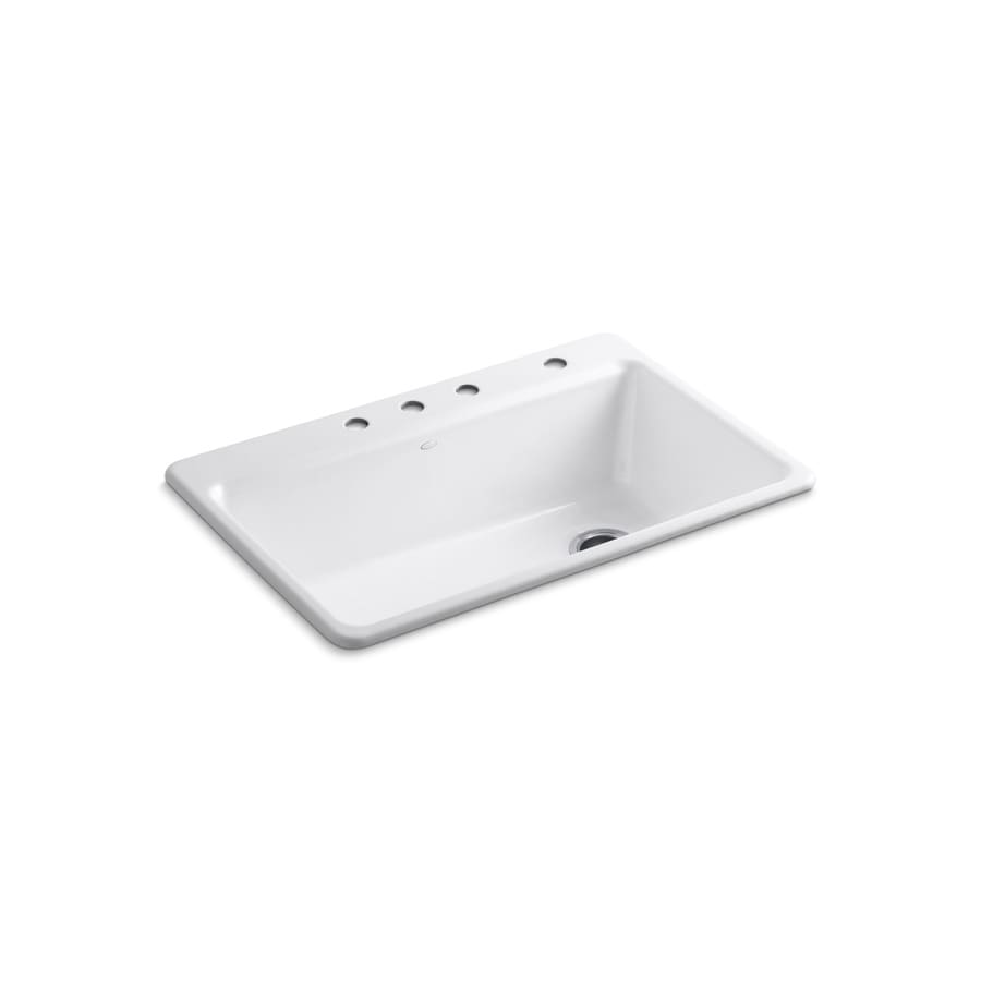 KOHLER Riverby 22-in x 33-in White Single-Basin Cast Iron Drop-in 4-Hole Commercial/Residential Kitchen Sink