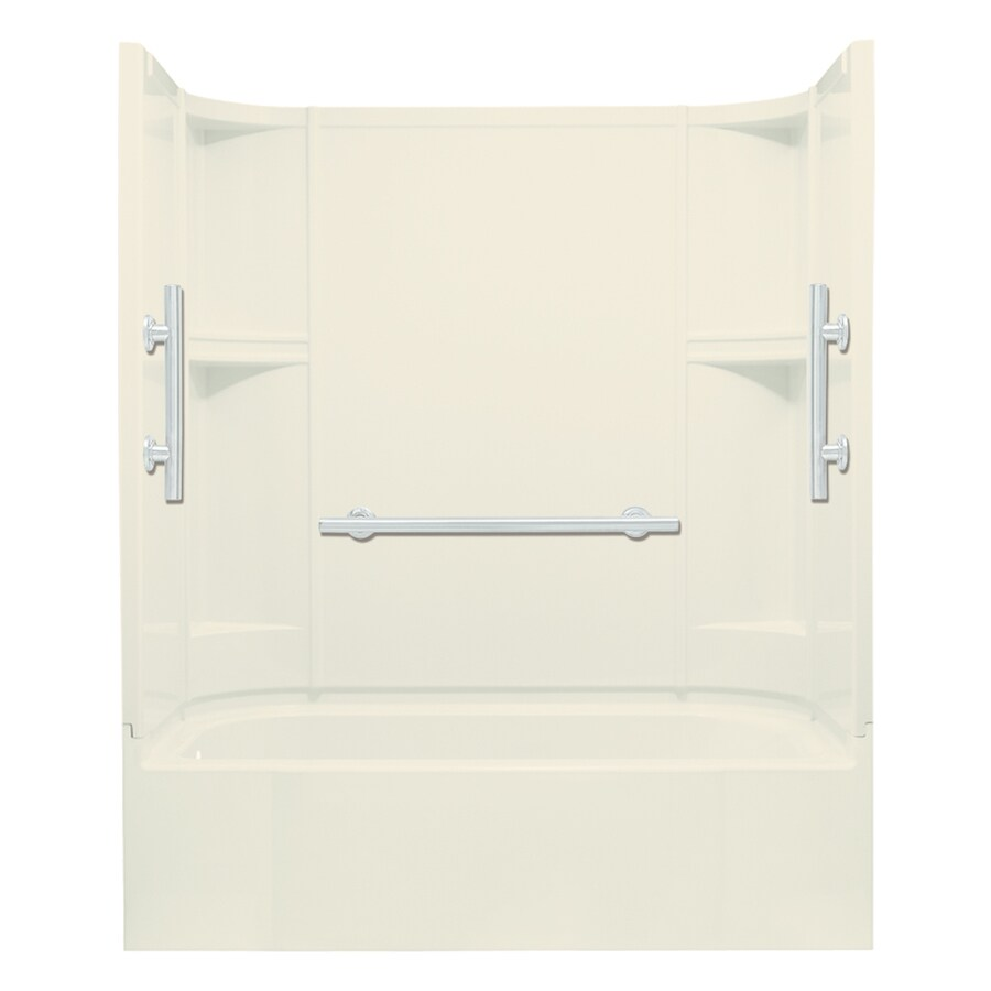 Sterling Accord 60-in Biscuit Vikrell Alcove Bathtub with Left-Hand Drain