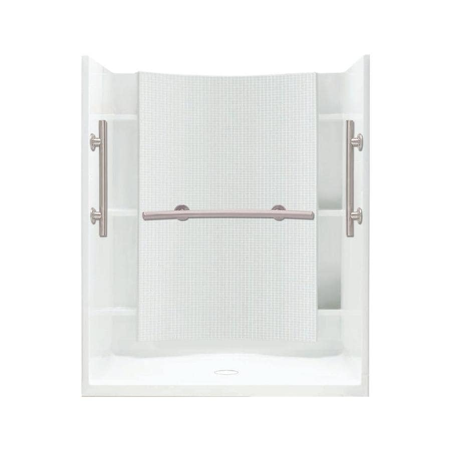 Sterling Accord White Wall Vikrell Floor 4-Piece Alcove Shower Kit (Common: 48-in x 36-in; Actual: 75.75-in x 48-in x 36-in)