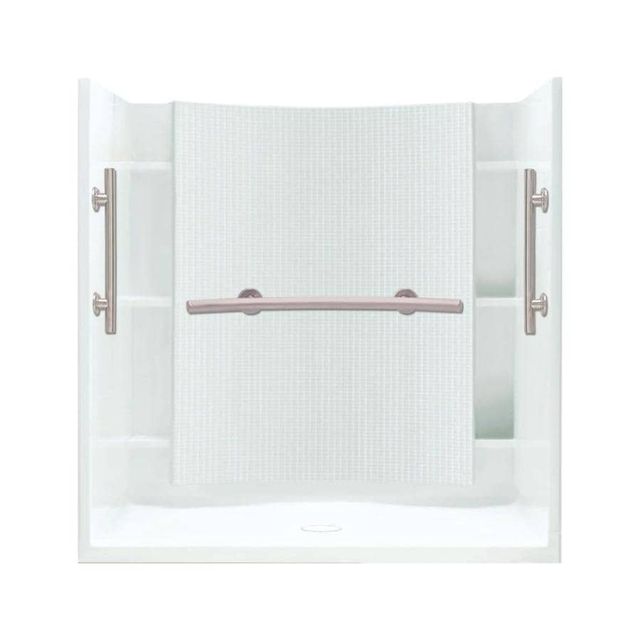 Sterling Accord White Wall Vikrell Floor 4-Piece Alcove Shower Kit (Common: 60-in x 36-in; Actual: 75.75-in x 60-in x 36-in)