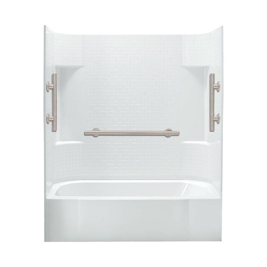 Sterling Accord White Vikrell Rectangular Alcove Bathtub with Left-Hand Drain (Common: 60-in x 30-in; Actual: 72-in x 60-in x 30-in