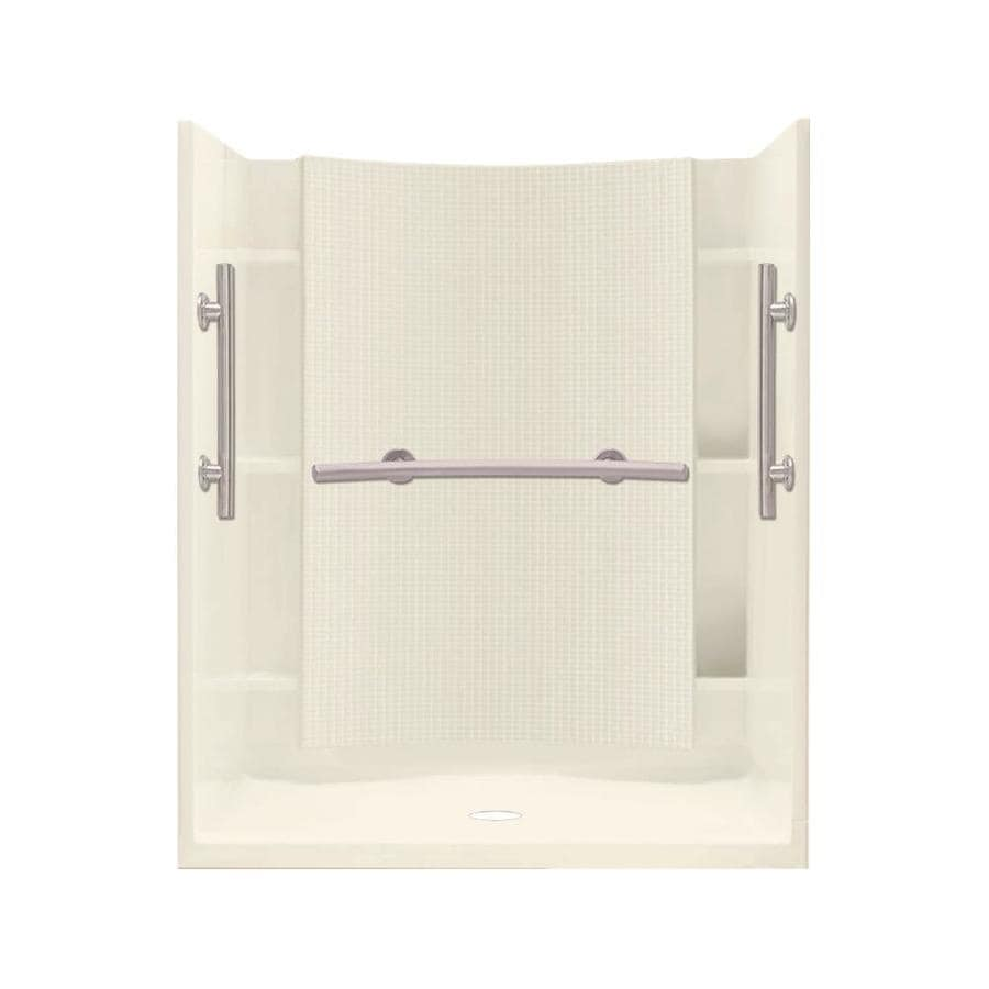 Sterling Accord Biscuit Wall Vikrell Floor 4-Piece Alcove Shower Kit (Common: 48-in x 36-in; Actual: 75.75-in x 48-in x 36-in)