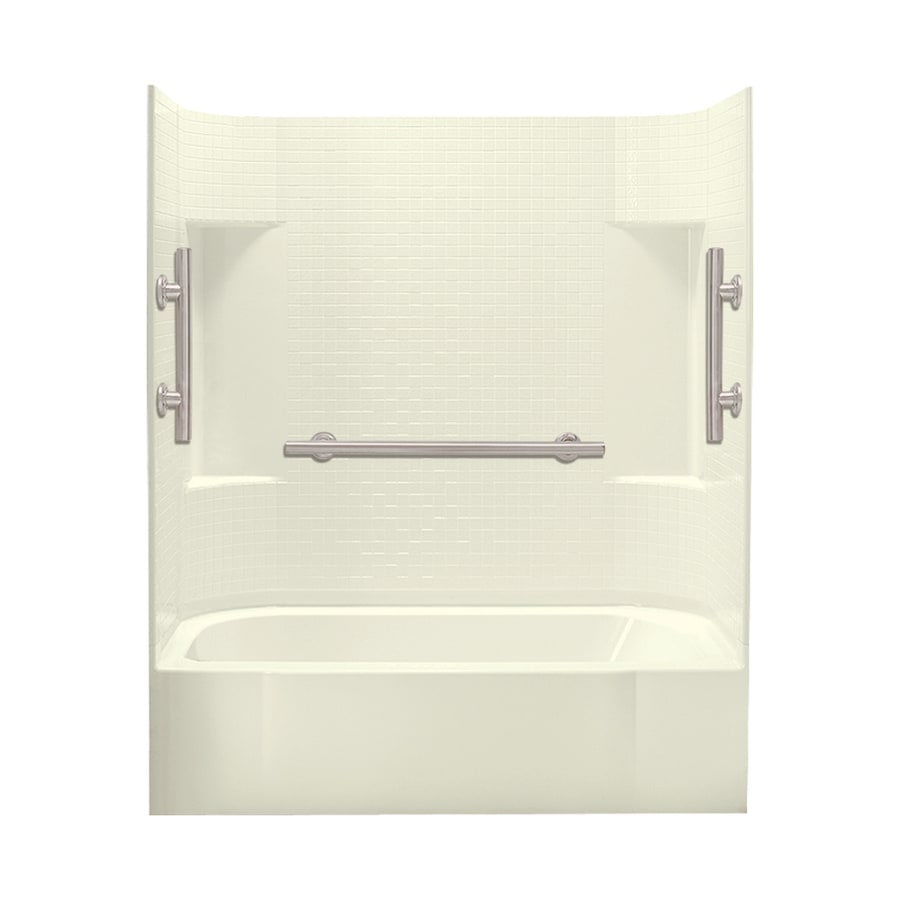 Sterling Accord Biscuit Vikrell Rectangular Alcove Bathtub with Left-Hand Drain (Common: 60-in x 30-in; Actual: 72-in x 60-in x 30-in)