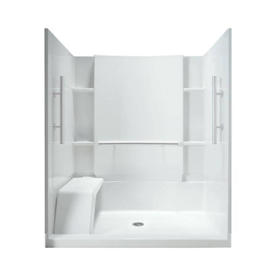 Sterling Accord White Wall Vikrell Floor 4-Piece Alcove Shower Kit (Common: 60-in x 36-in; Actual: 74.5-in x 60-in x 36-in)