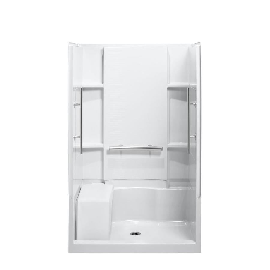 Sterling Accord White Wall Vikrell Floor 4-Piece Alcove Shower Kit (Common: 48-in x 36-in; Actual: 74.5-in x 48-in x 36-in)