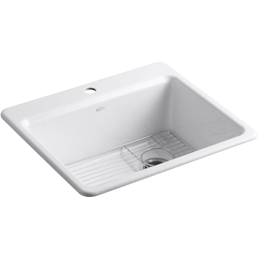 KOHLER Riverby 22-in x 25-in White Single-Basin Cast Iron Tile-in 1-Hole Residential Kitchen Sink