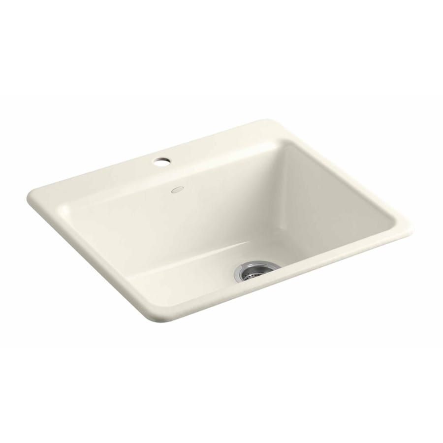 KOHLER 22-in x 25-in Biscuit Single-Basin Cast Iron Undermount 1-Hole Residential Kitchen Sink