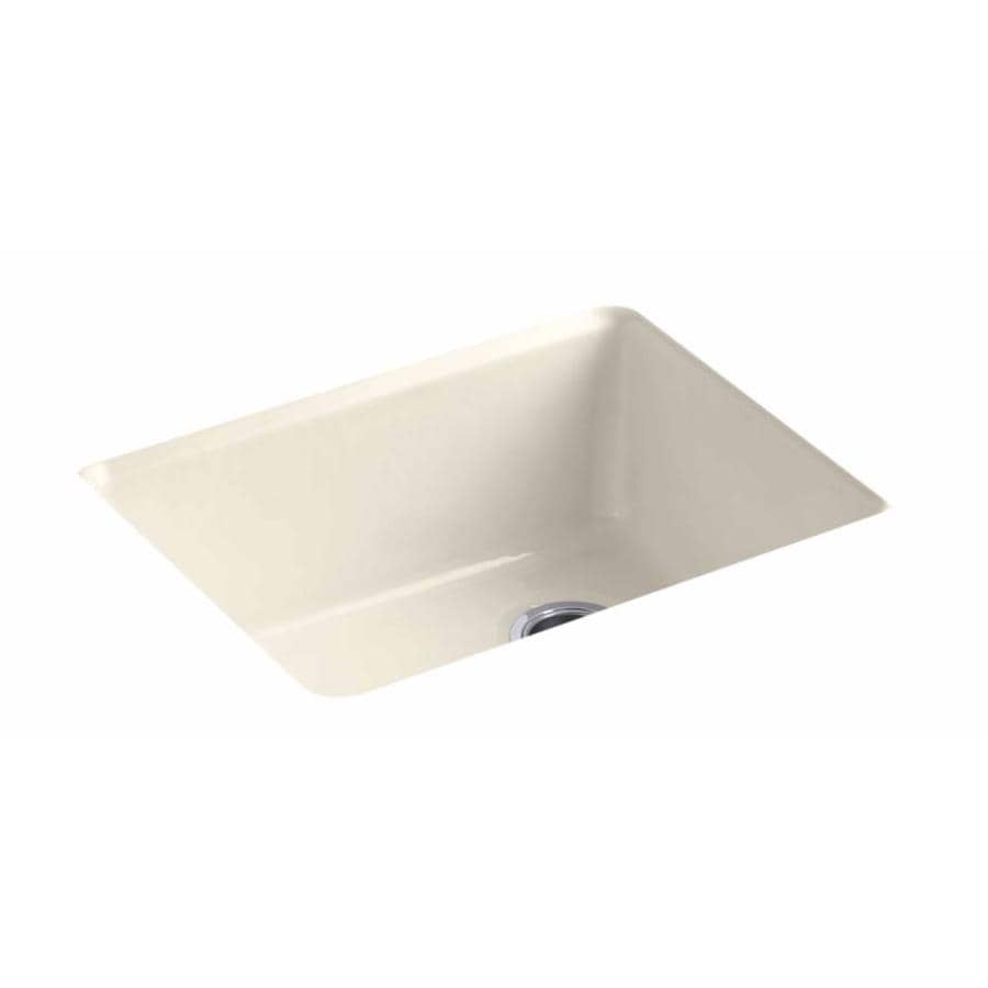 KOHLER 22-in x 25-in Almond Single-Basin Cast Iron Drop-in Residential Kitchen Sink