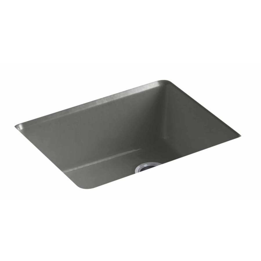 KOHLER 22-in x 25-in Thunder Grey 1 Cast Iron Drop-in (Customizable)-Hole Residential Kitchen Sink