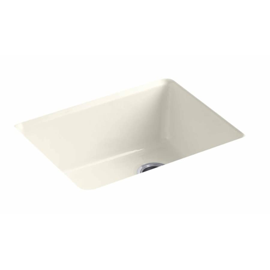 KOHLER 22-in x 25-in Biscuit Single-Basin Cast Iron Drop-in Residential Kitchen Sink