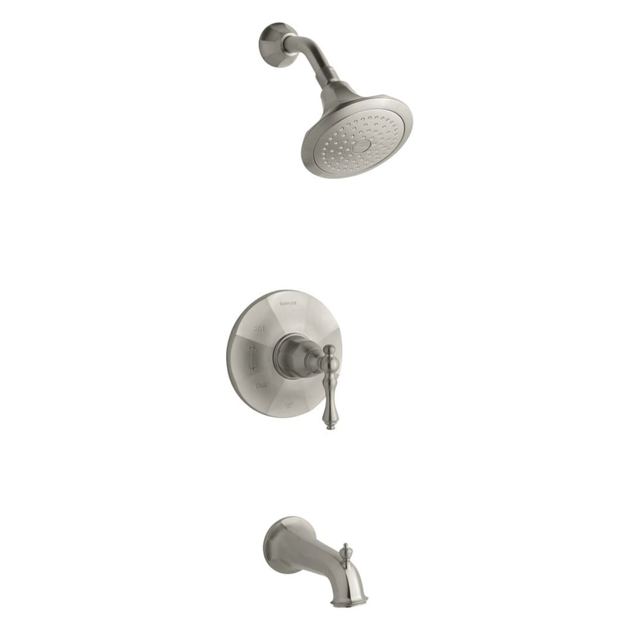 KOHLER Kelston Vibrant Brushed Nickel 1-Handle WaterSense Bathtub and Shower Faucet Trim Kit with Single Function Showerhead