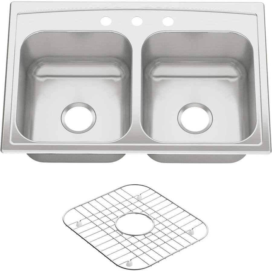 KOHLER 22-in x 33-in Stainless Steel Double-Basin Drop-in 3-Hole Residential Kitchen Sink