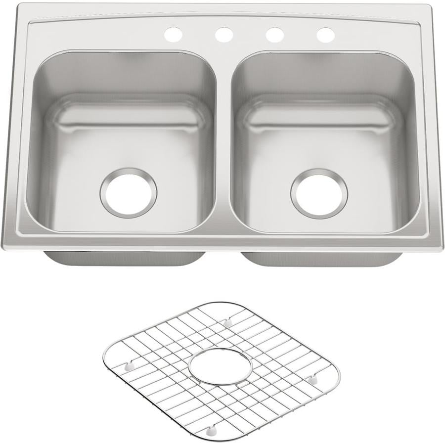 KOHLER 22-in x 33-in Stainless Steel 2 Stainless Steel Drop-in 4-Hole Residential Kitchen Sink