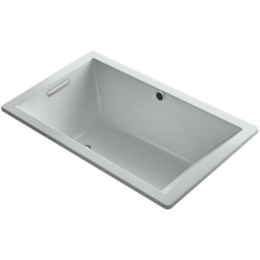 KOHLER Underscore 60-in Icre Grey Acrylic Drop-In Bathtub with Reversible Drain