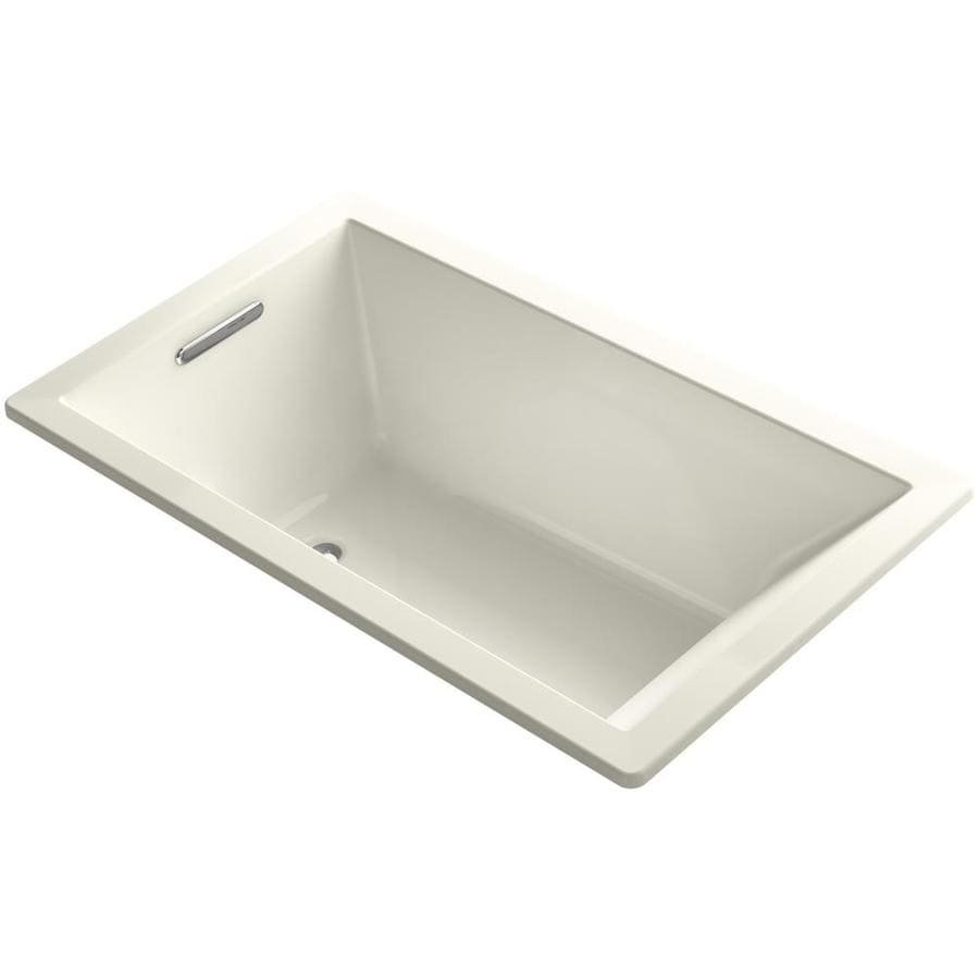 KOHLER Underscore 60-in Biscuit Acrylic Drop-In Bathtub with Reversible Drain