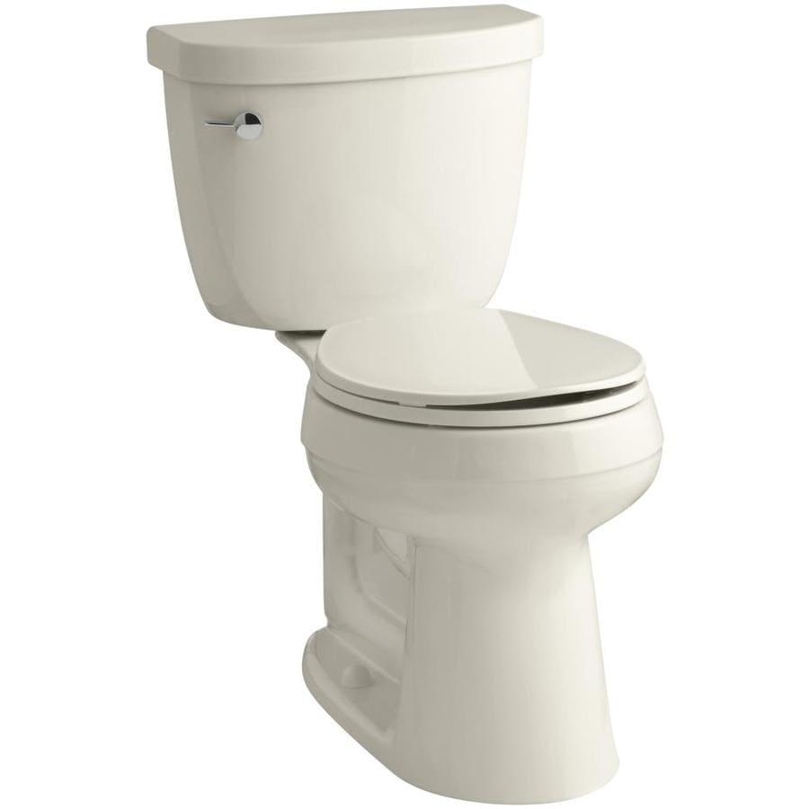 KOHLER Cimarron 1.28-GPF (4.85-LPF) Almond Round Chair Height 2-piece Toilet