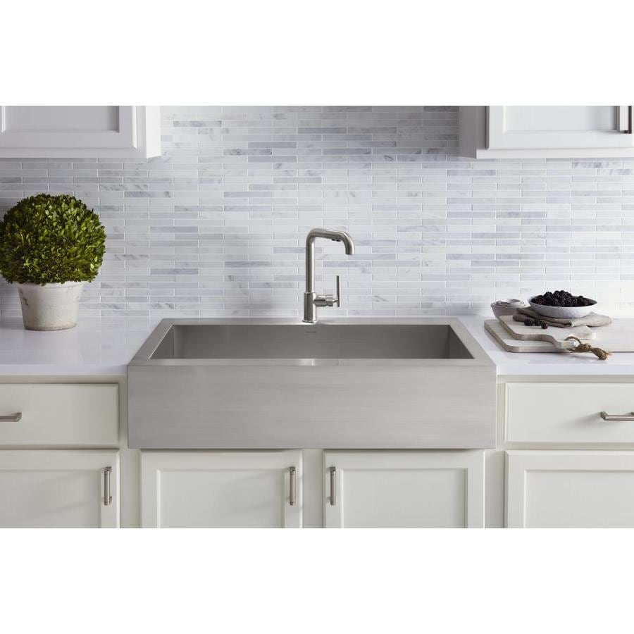 KOHLER Vault 24.31-in x 35.75-in Single-Basin Stainless Steel Apron Front/Farmhouse 1-Hole Residential Kitchen Sink
