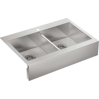 Kohler Vault 35 75 In X 24 31 In Stainless Steel Double