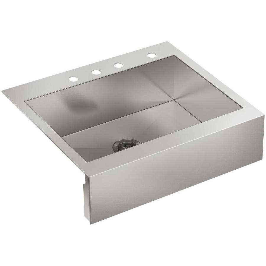 KOHLER Vault 24.31-in x 29.75-in Single-Basin Stainless Steel Apron Front/Farmhouse 4-Hole Residential Kitchen Sink