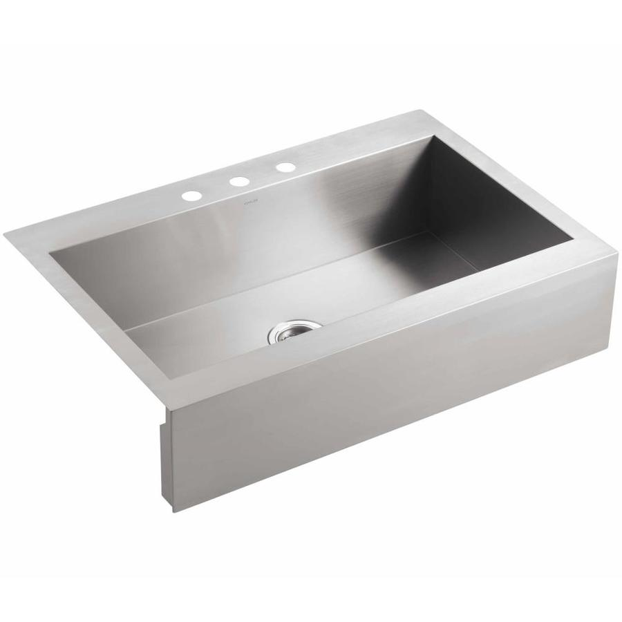 KOHLER Vault 24.3125-in x 35.75-in Single-Basin Stainless Steel Apron Front/Farmhouse 3-Hole Residential Kitchen Sink