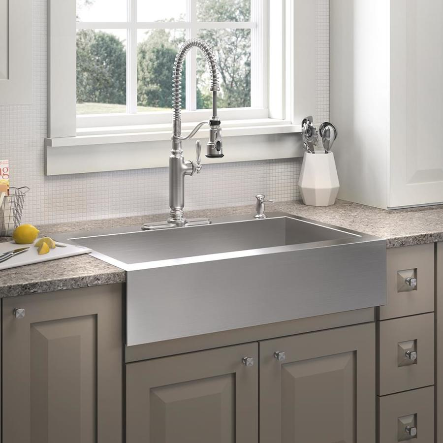 KOHLER Vault 24.3125-in x 35.75-in Stainless Steel Single-Basin-Basin Stainless Steel Apron Front/Farmhouse 4-Hole Residential Kitchen Sink