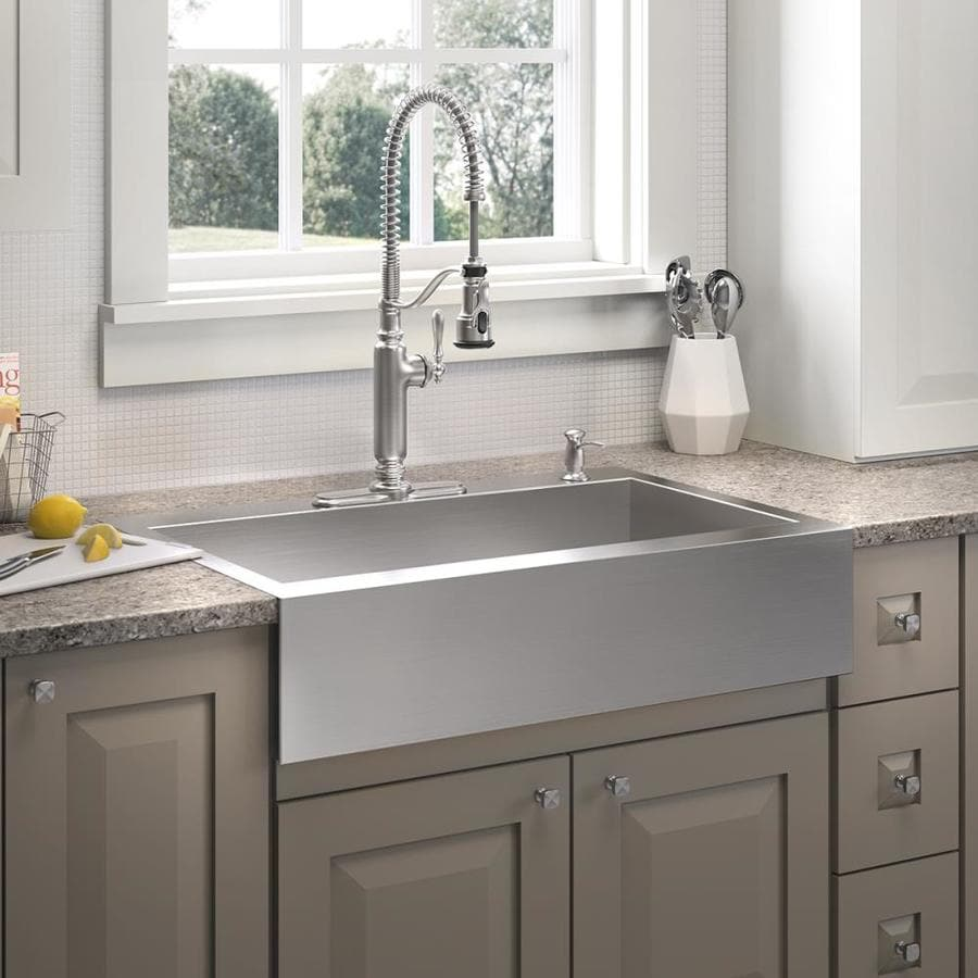 KOHLER Vault 24.3125-in x 35.75-in Stainless Steel 1 Stainless Steel Apron Front/Farmhouse 4-Hole Residential Kitchen Sink