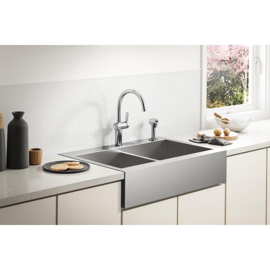 KOHLER Vault 24.3125-in x 35.75-in Stainless Steel Double-Basin Apron Front/Farmhouse 4-Hole Residential Kitchen Sink